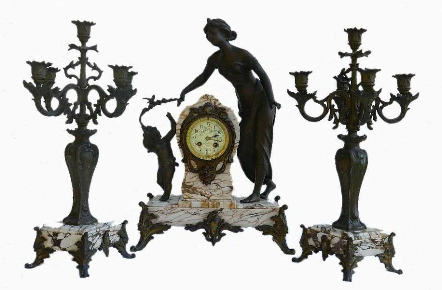 French Art Nouveau Clock Garniture Marble & Bronze Figural Lady with Putti & Candelabra