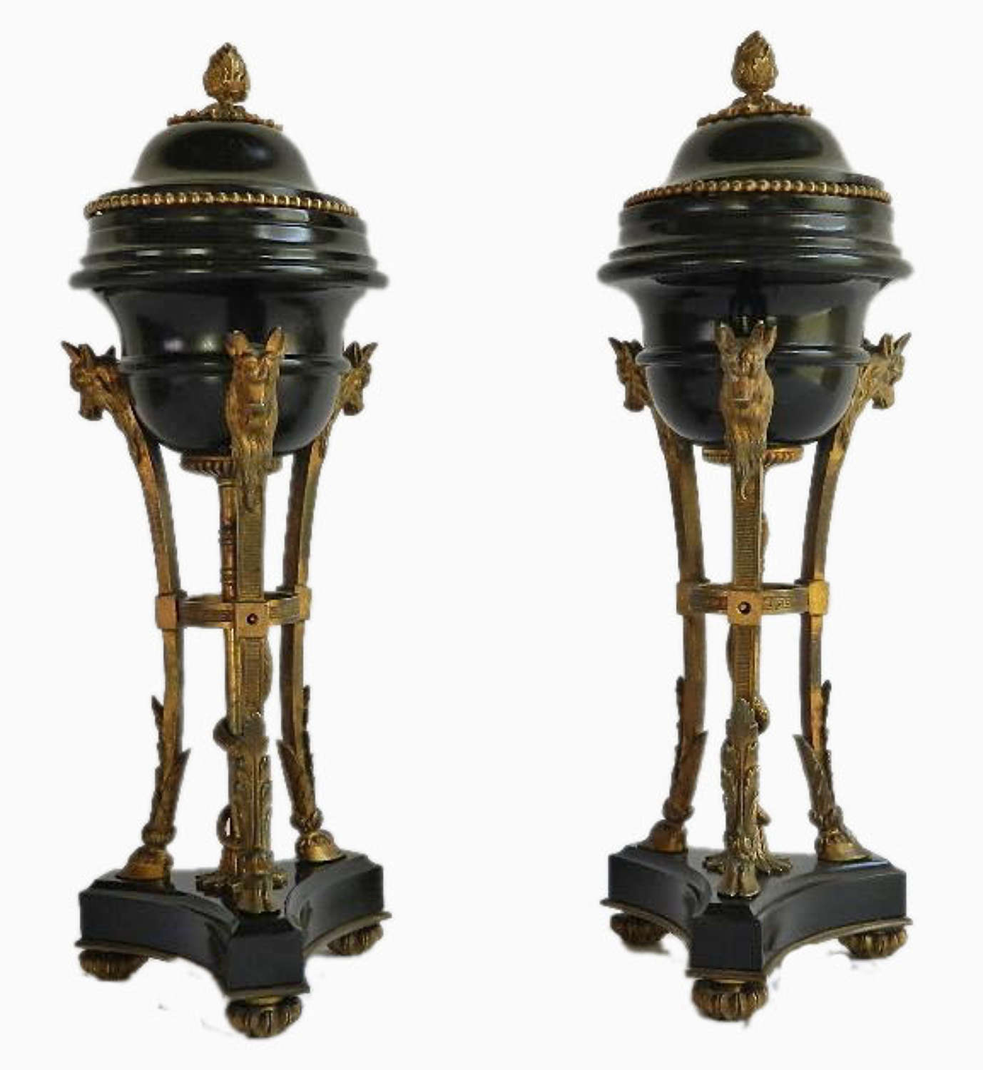 Pair of Second Empire Napoleon French Ormolu Bronze mounted Urns Cassolettes c1860