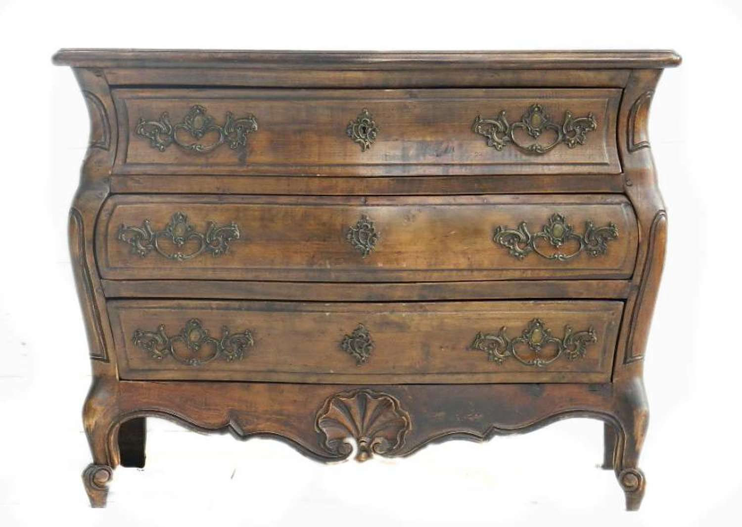 French Provincial Vintage Louis revival Bombe Commode Chest of Drawers