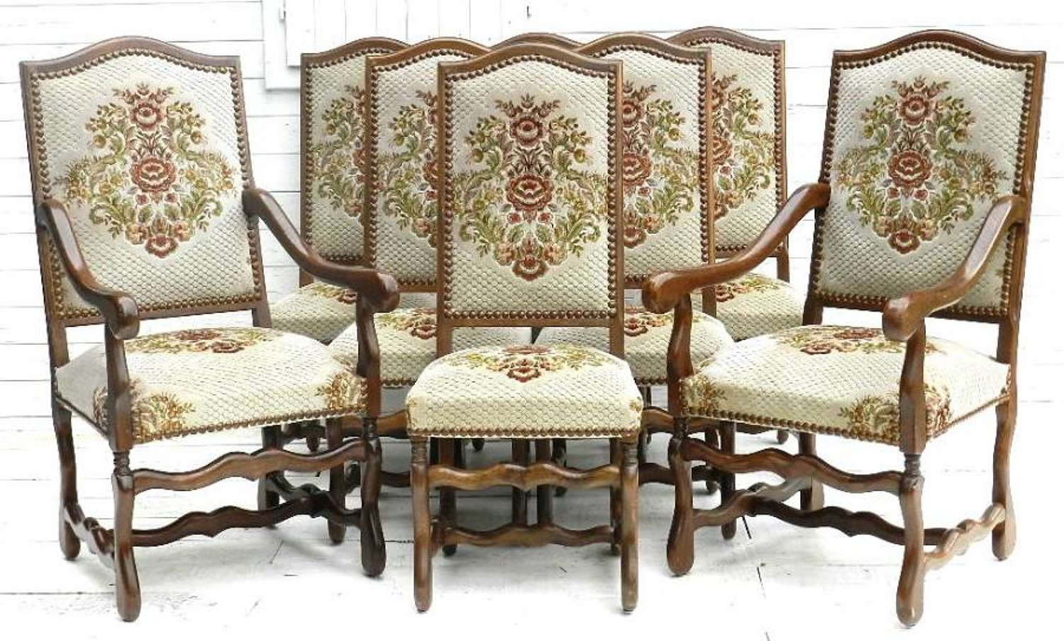 Set of 8 French Vintage `Os de Mouton` Louis Dining Chairs 6 + 2 Carvers Armchairs