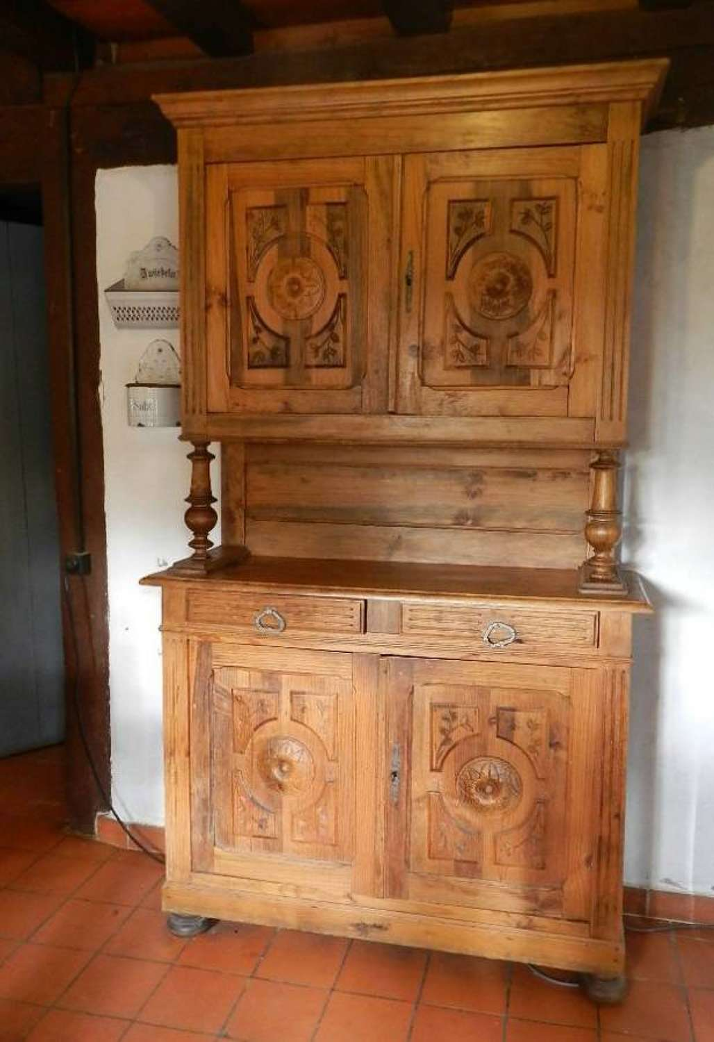 C19 French Carved Pine Louis Henri Buffet Dresser