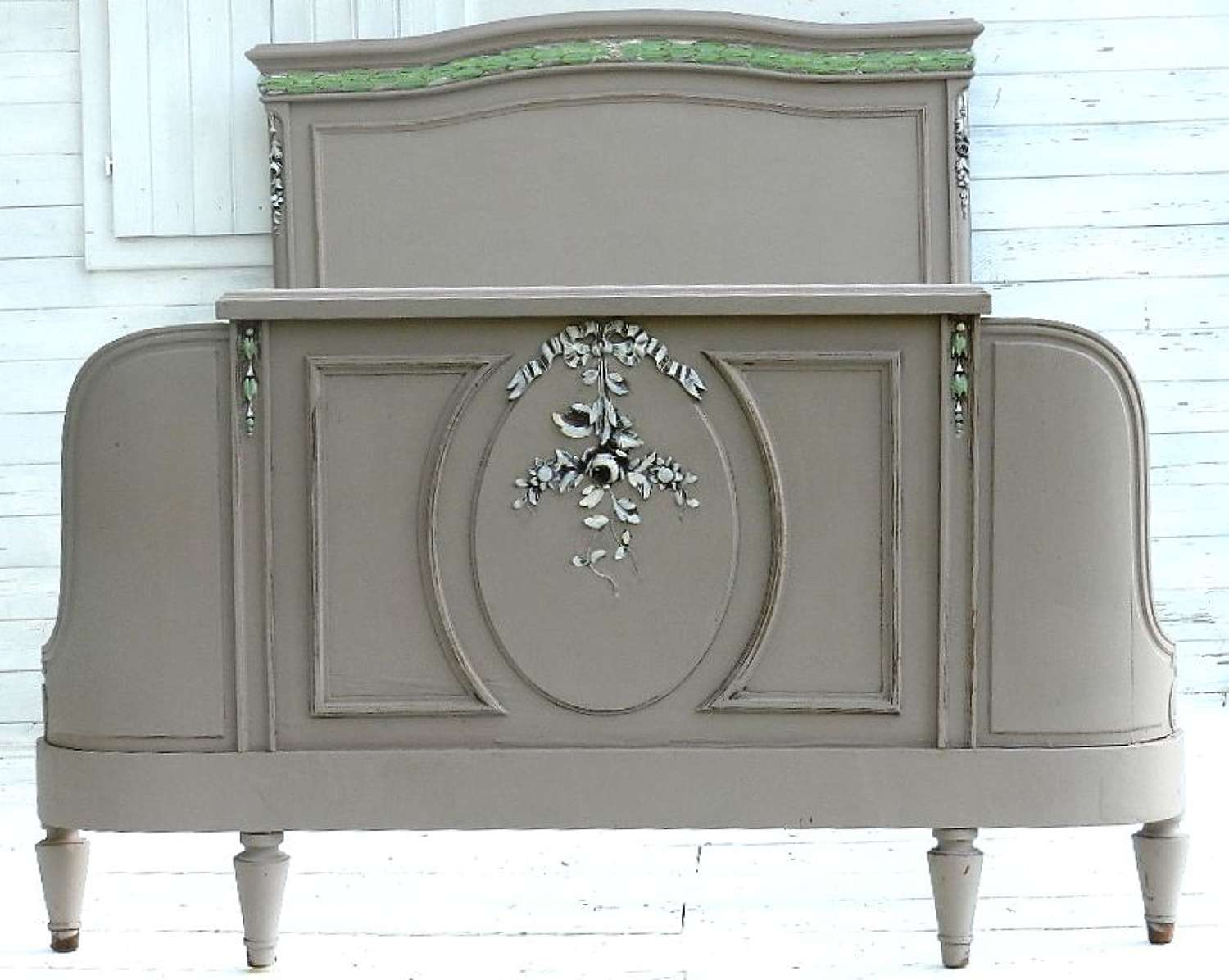 C19 Antique Louis XV French Double Bed+Base Painted Taupe Chic