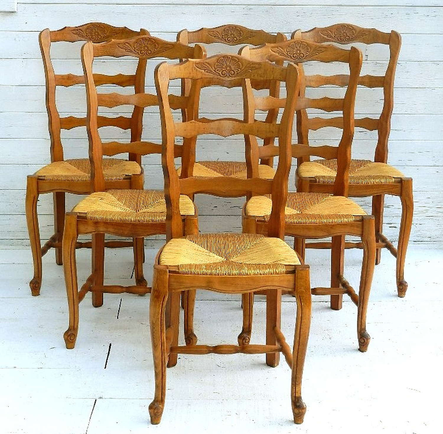 6 French Provincial Vintage Cherry Rush Seat Dining Chairs Louis Ladder Back