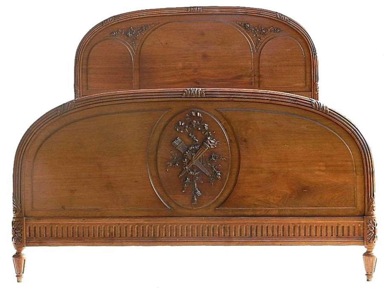 Rare French King size Double Bed c1920 Louis XVI rev Walnut  & Mahogany