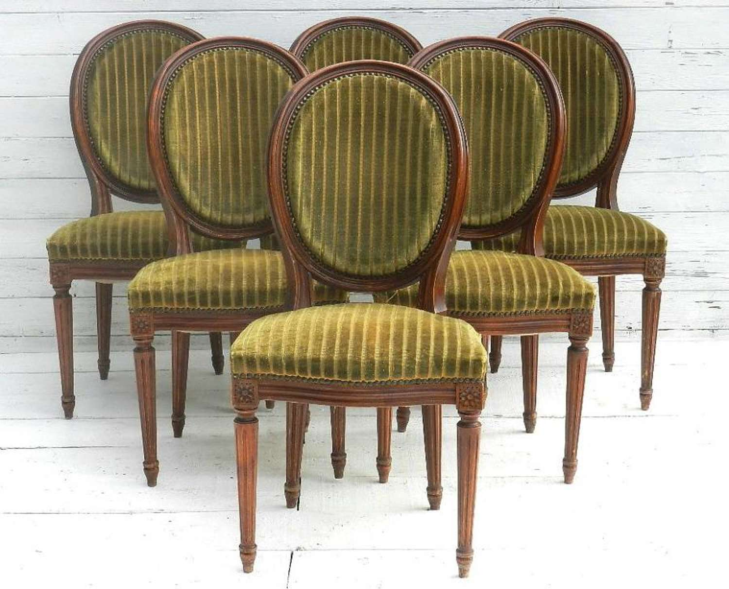 6 French Vintage Dining Chairs Medallion Back Louis XVI revival