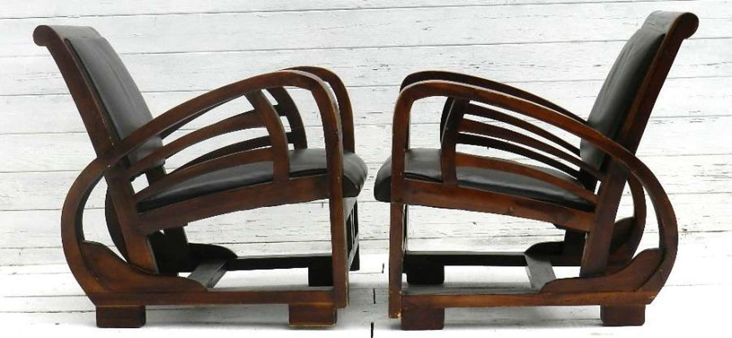 Stunning Pair of French Art Deco Leather Armchairs Fauteuils (Morris)