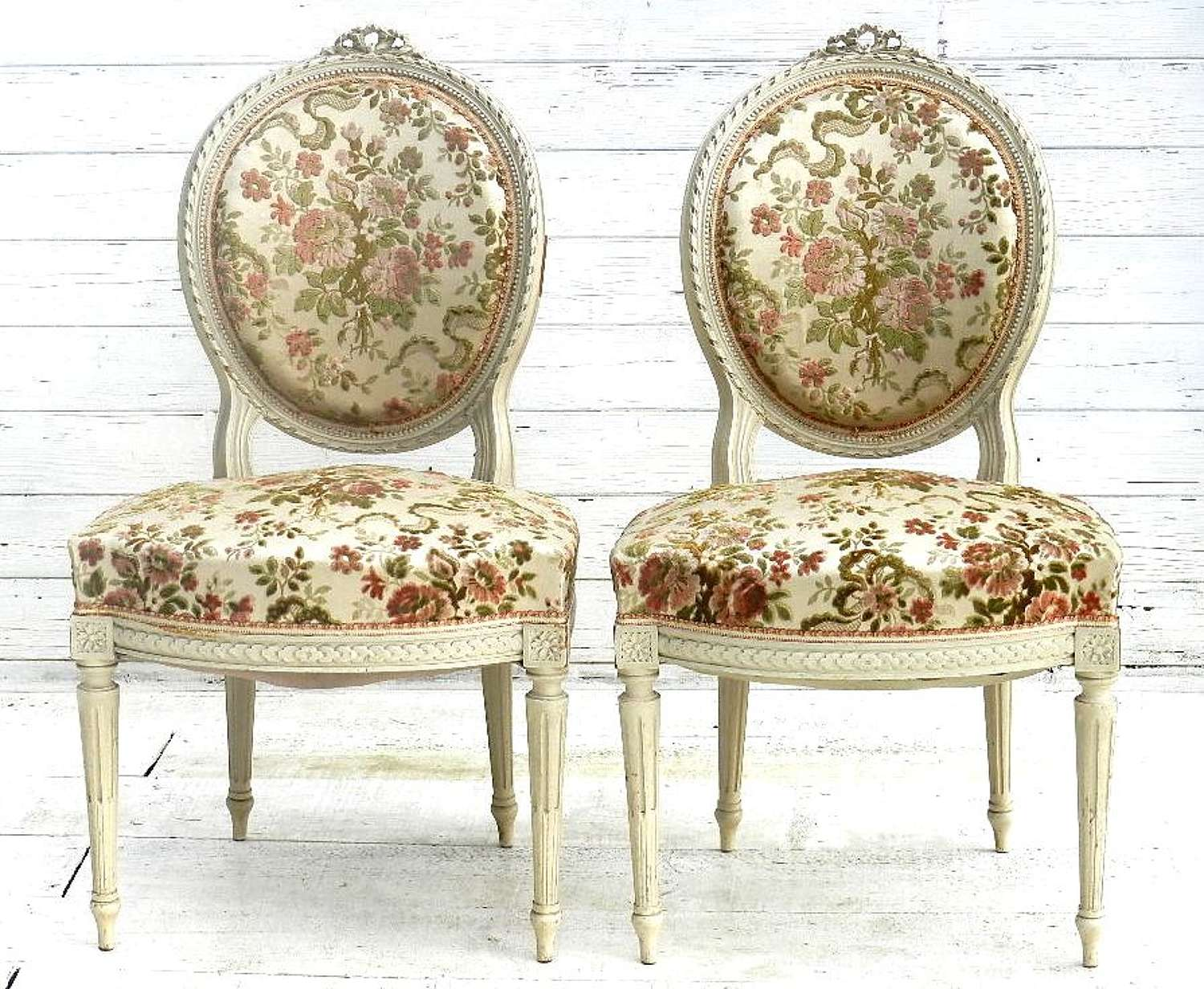 Pair of French Louis Chairs Medallion side accent boudoir bedroom