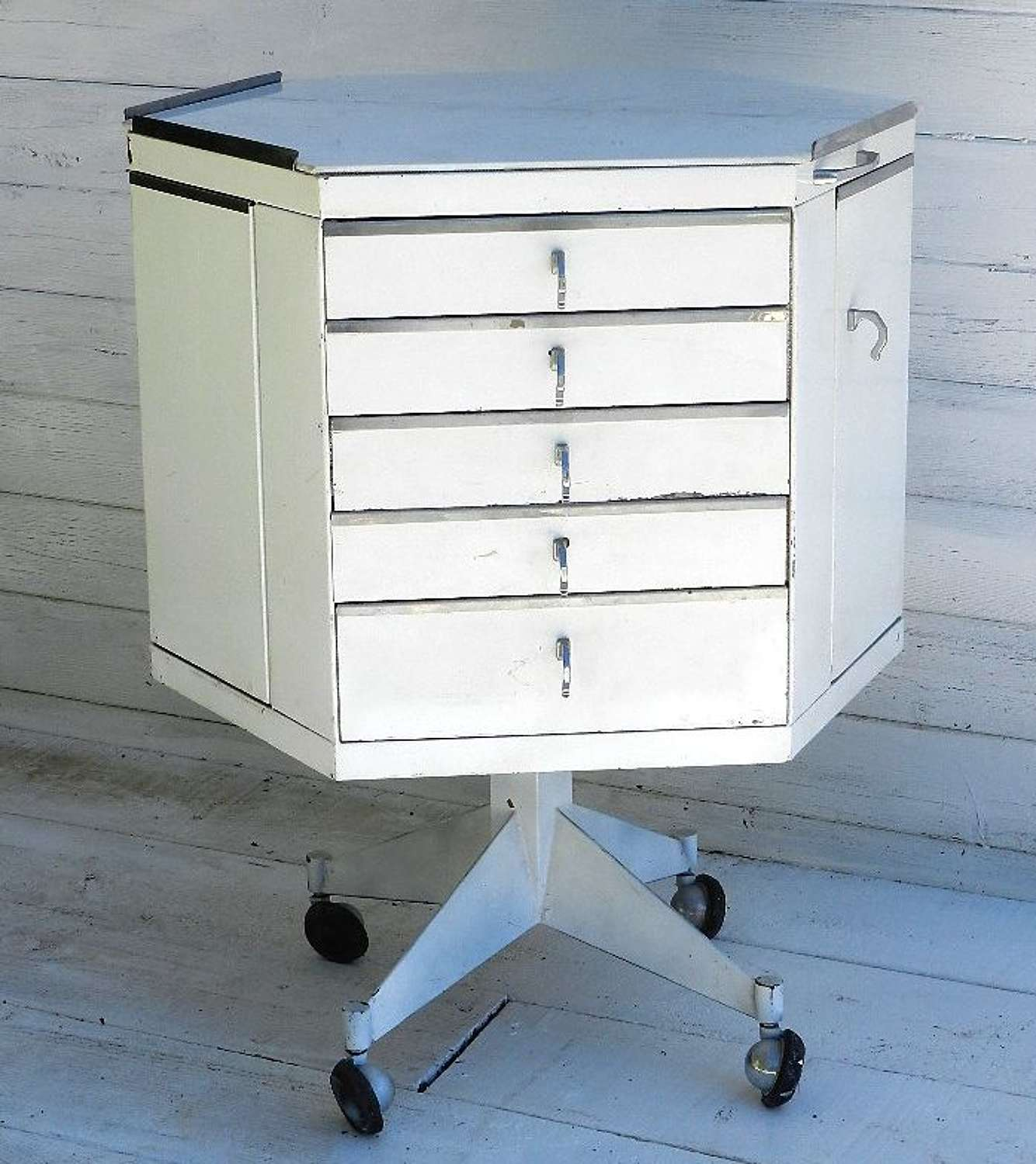 French Metal Cabinet of drawers and cupboards Bedside Table Dentists
