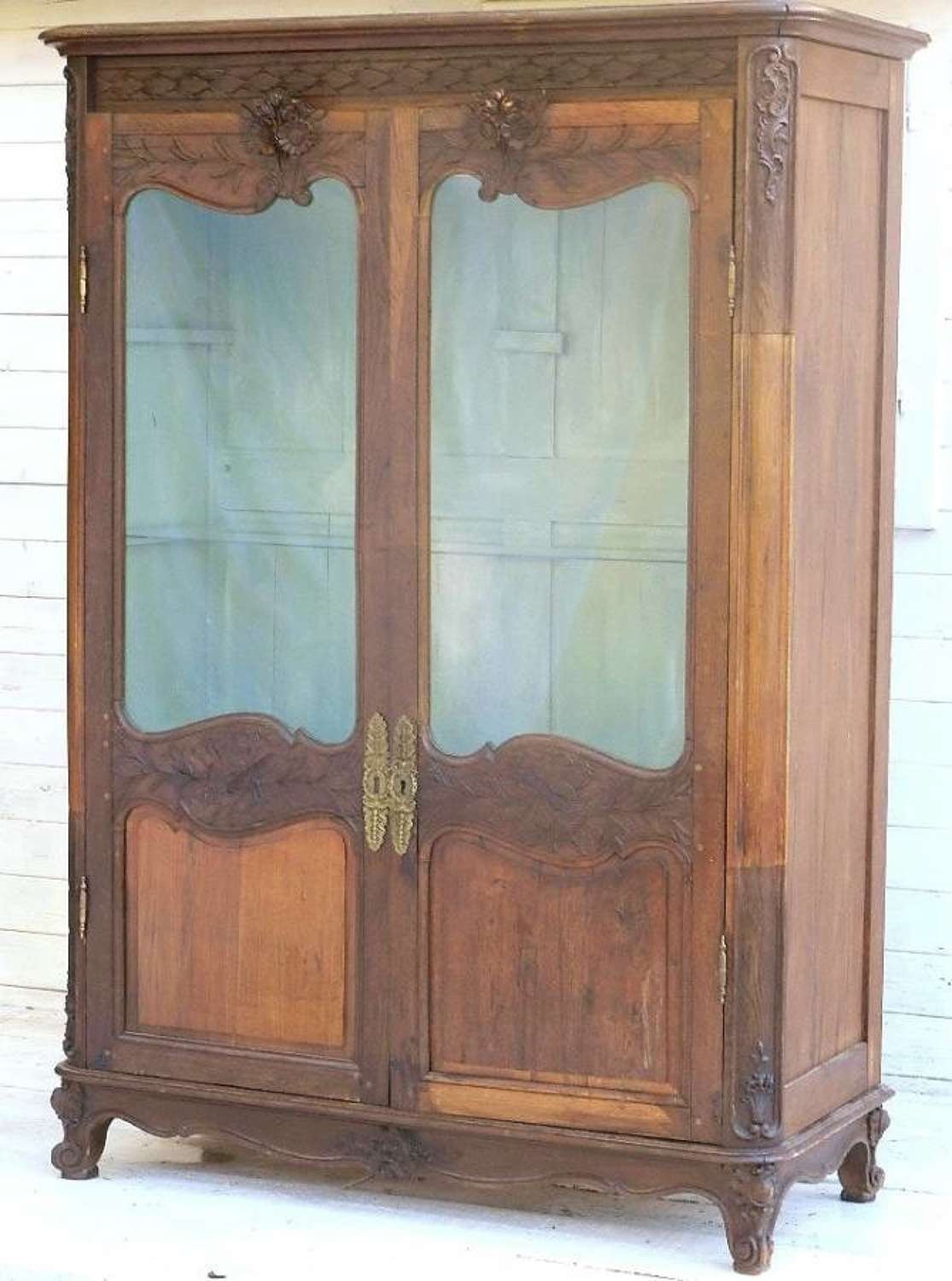 Early C19 French Provincial Vitrine carved oak Louis Bookcase Display Cupboard Armoire