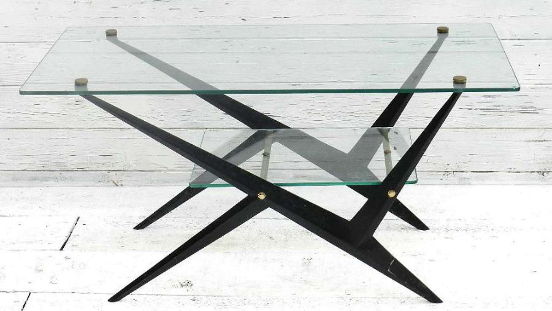 Mid Century Coffee Table by Angelo Ostuni Italian c1950 Glass & Metal