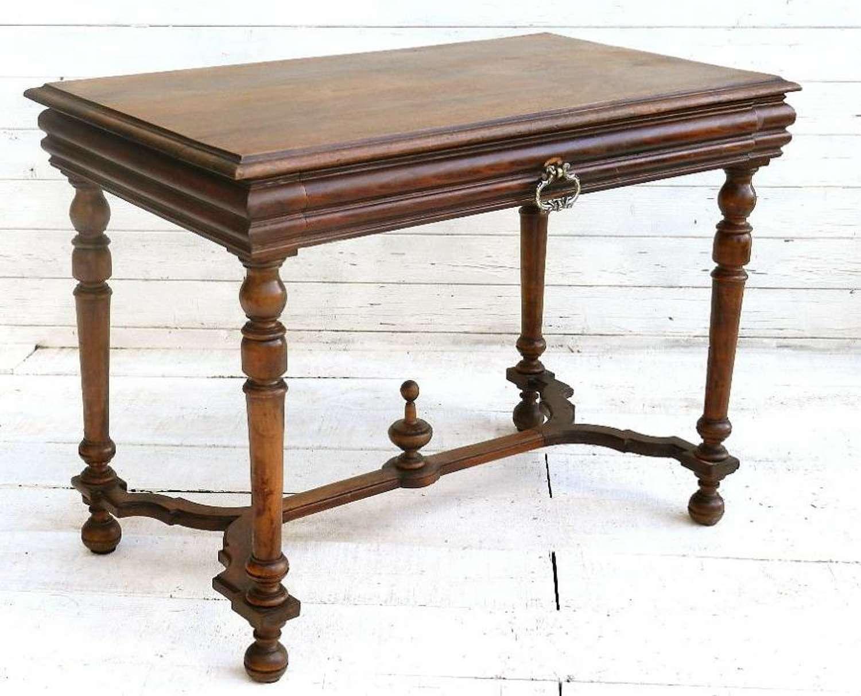 C19 French Walnut Writing Desk Side Table