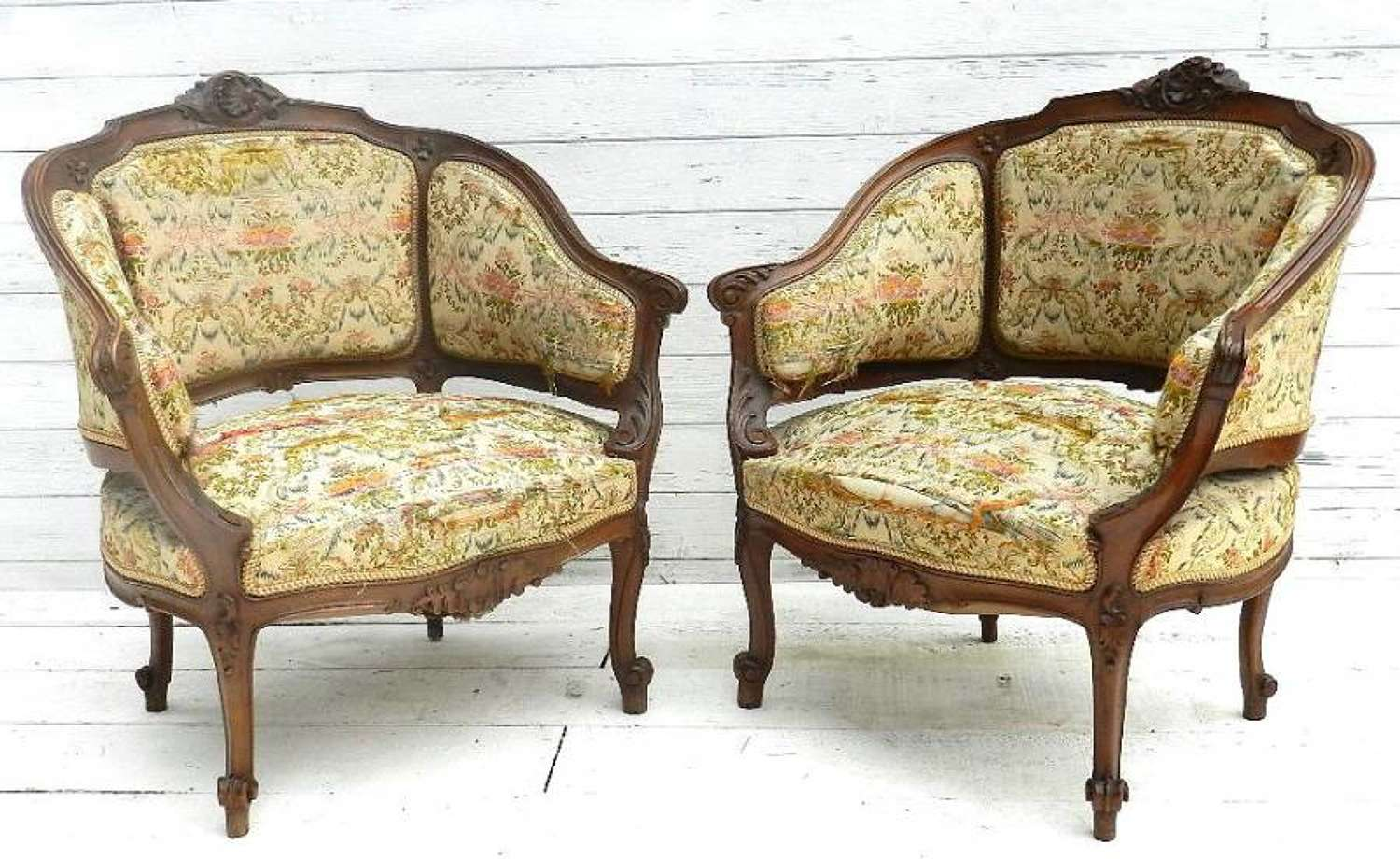Pair of French C19 Louis XV Fauteuils Armchairs