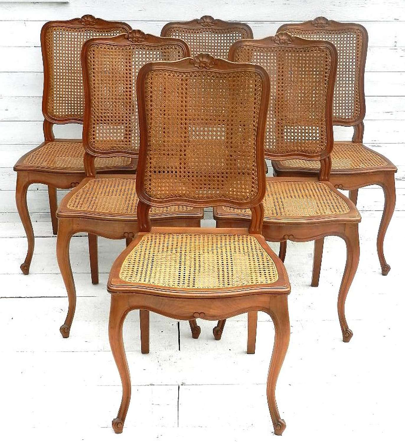 6 French Vintage Louis Dining Chairs cane bergere Cherry