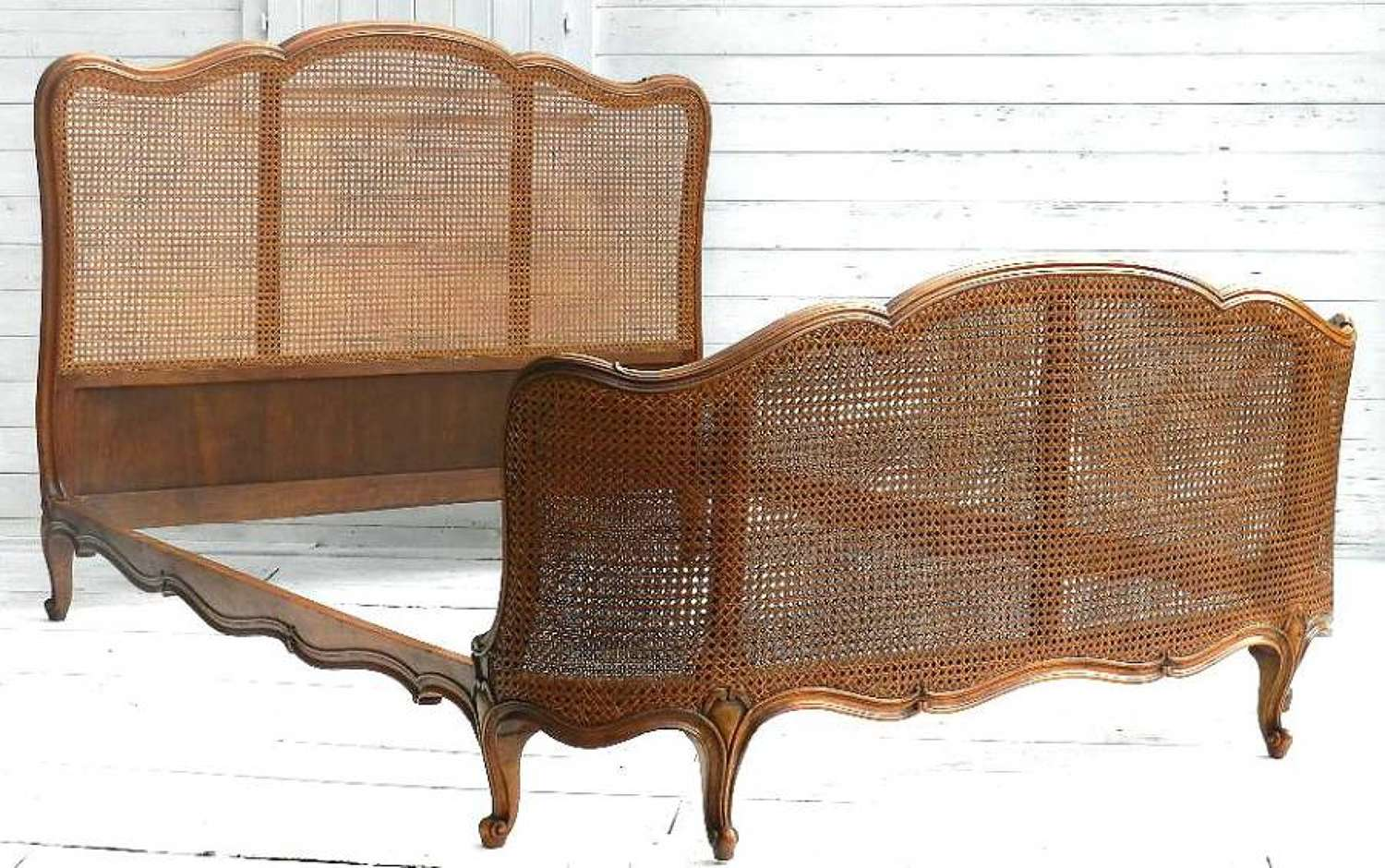 FRENCH BERGERE DOUBLE BED + BASE LOUIS XV rev CANE LIT CORBEILLE