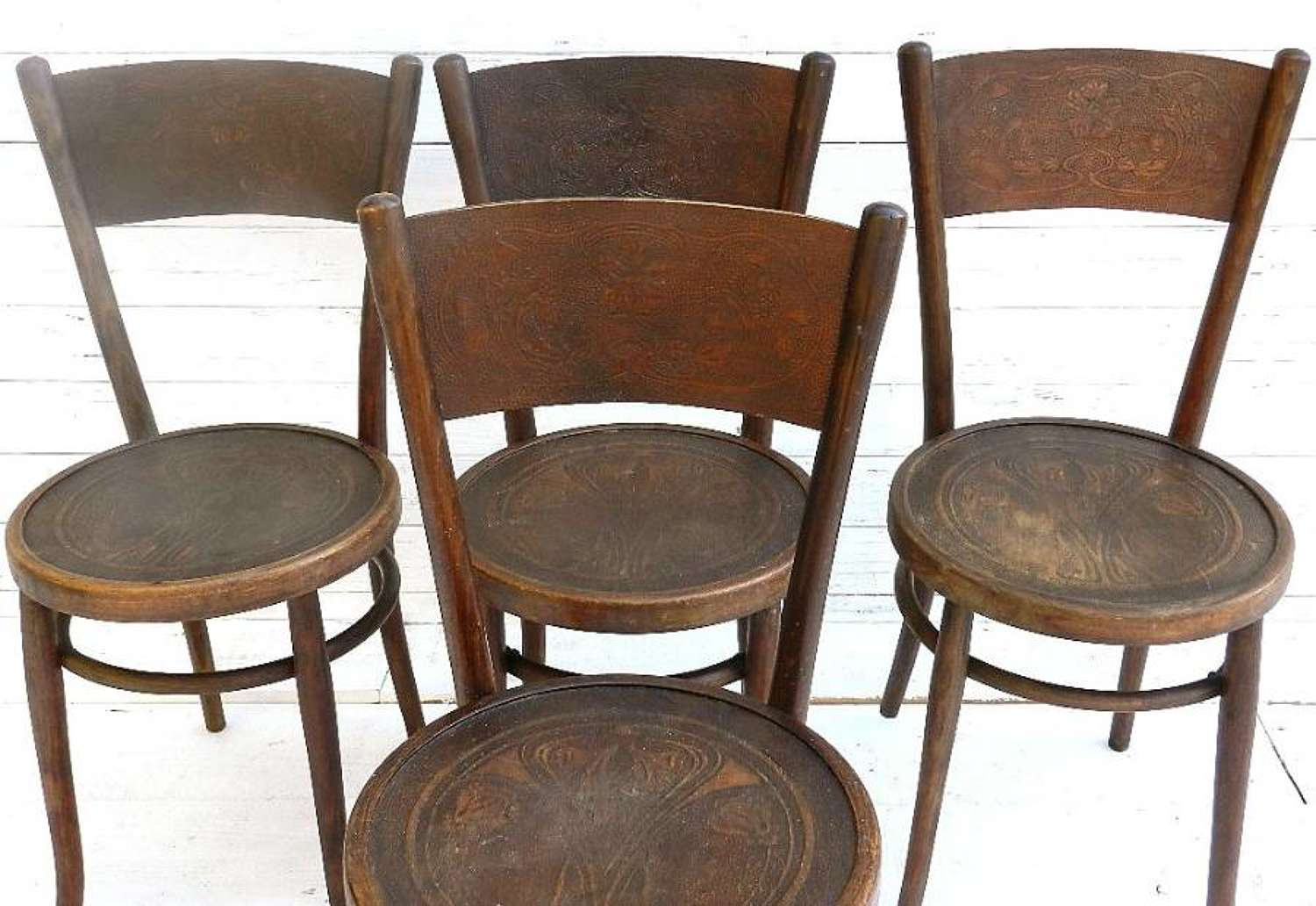 SET of 4 FRENCH ART NOUVEAU BENTWOOD CAFE CHAIRS
