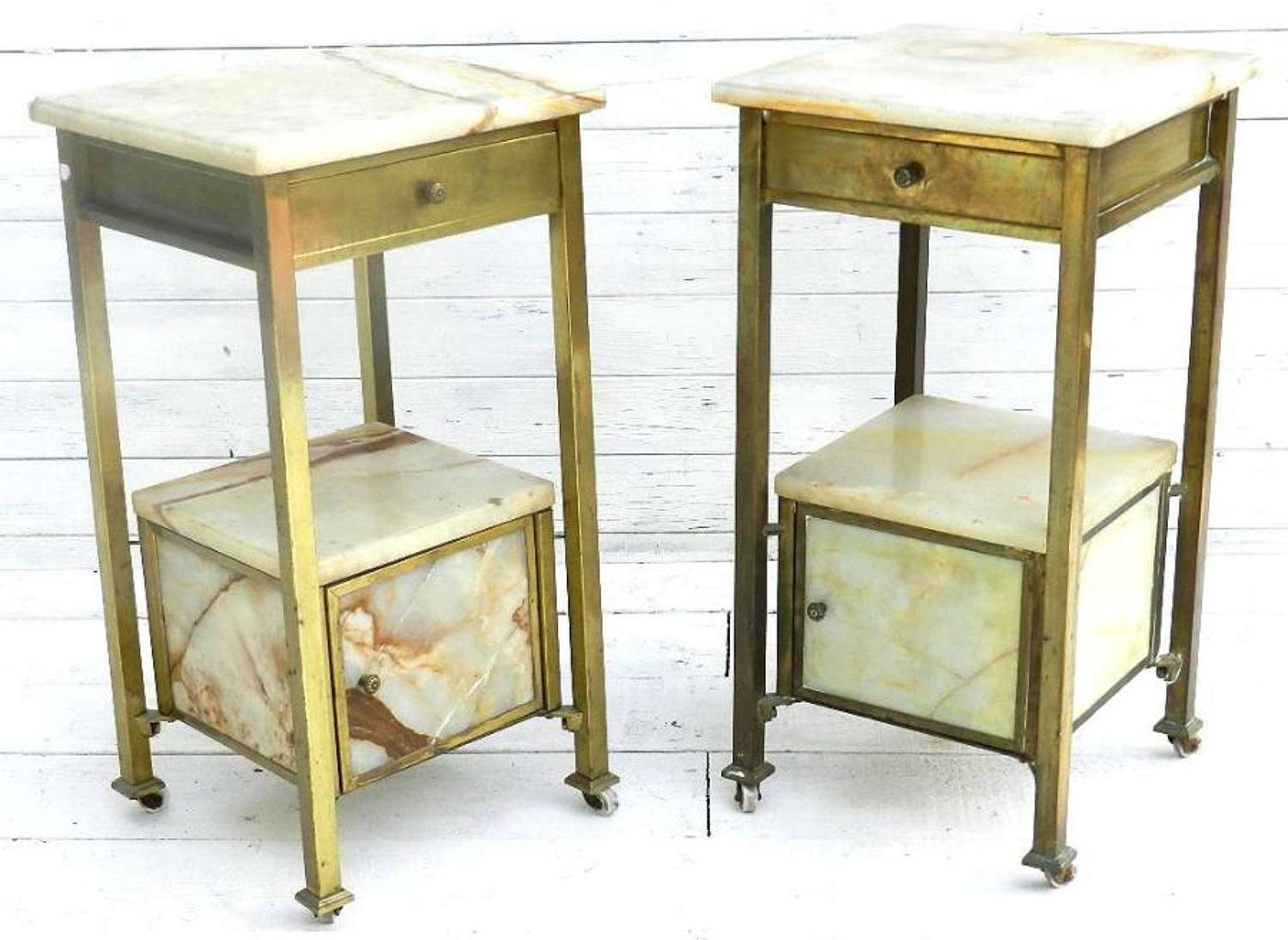 PAIR of FRENCH BRASS & MARBLE BEDSIDE TABLES / CABINETS