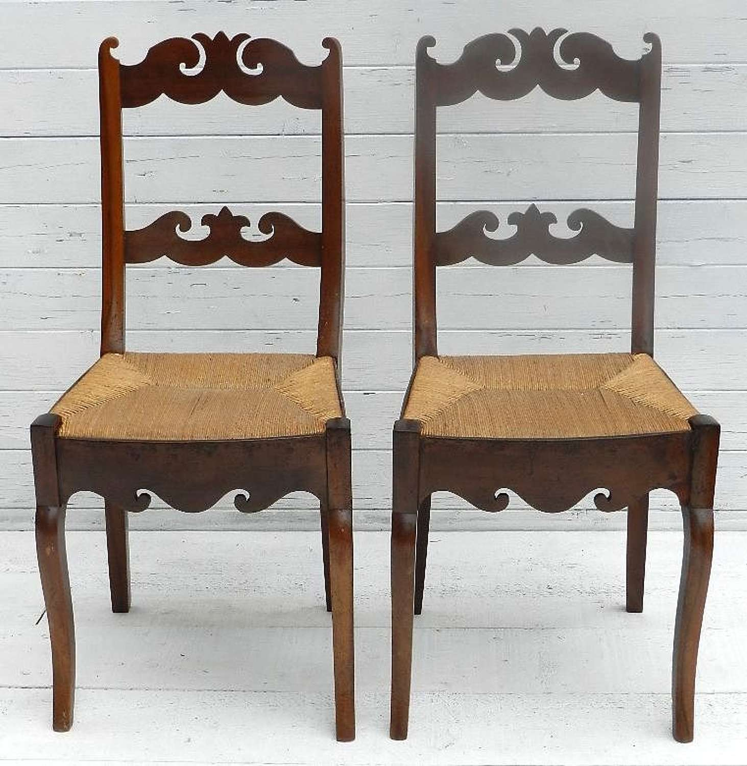 C18 PAIR of PROVINCIAL FRENCH DIRECTOIRE CHERRY CHAIRS
