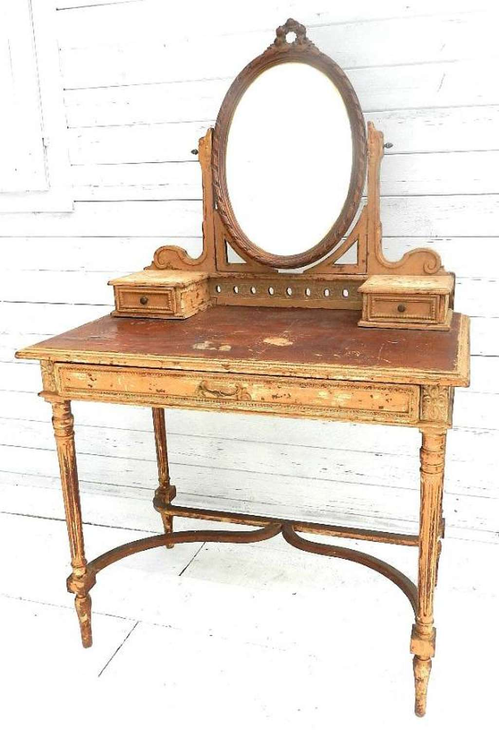 FRENCH LOUIS XVI revival DRESSING TABLE SHABBY CHATEAU ROUGH LUXE