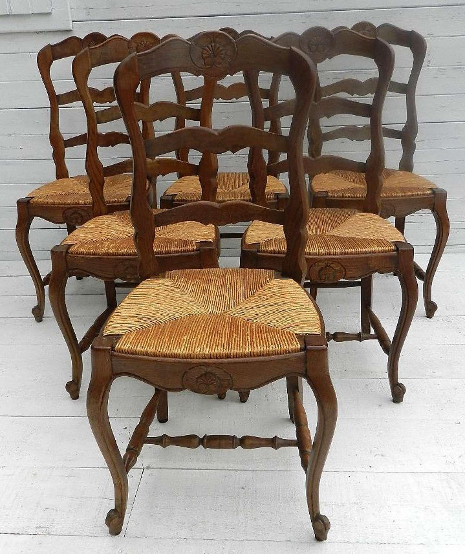 SET of 6 FRENCHVINTAGE DINING CHAIRS OAK LOUIS XV rev RUSH SEATS