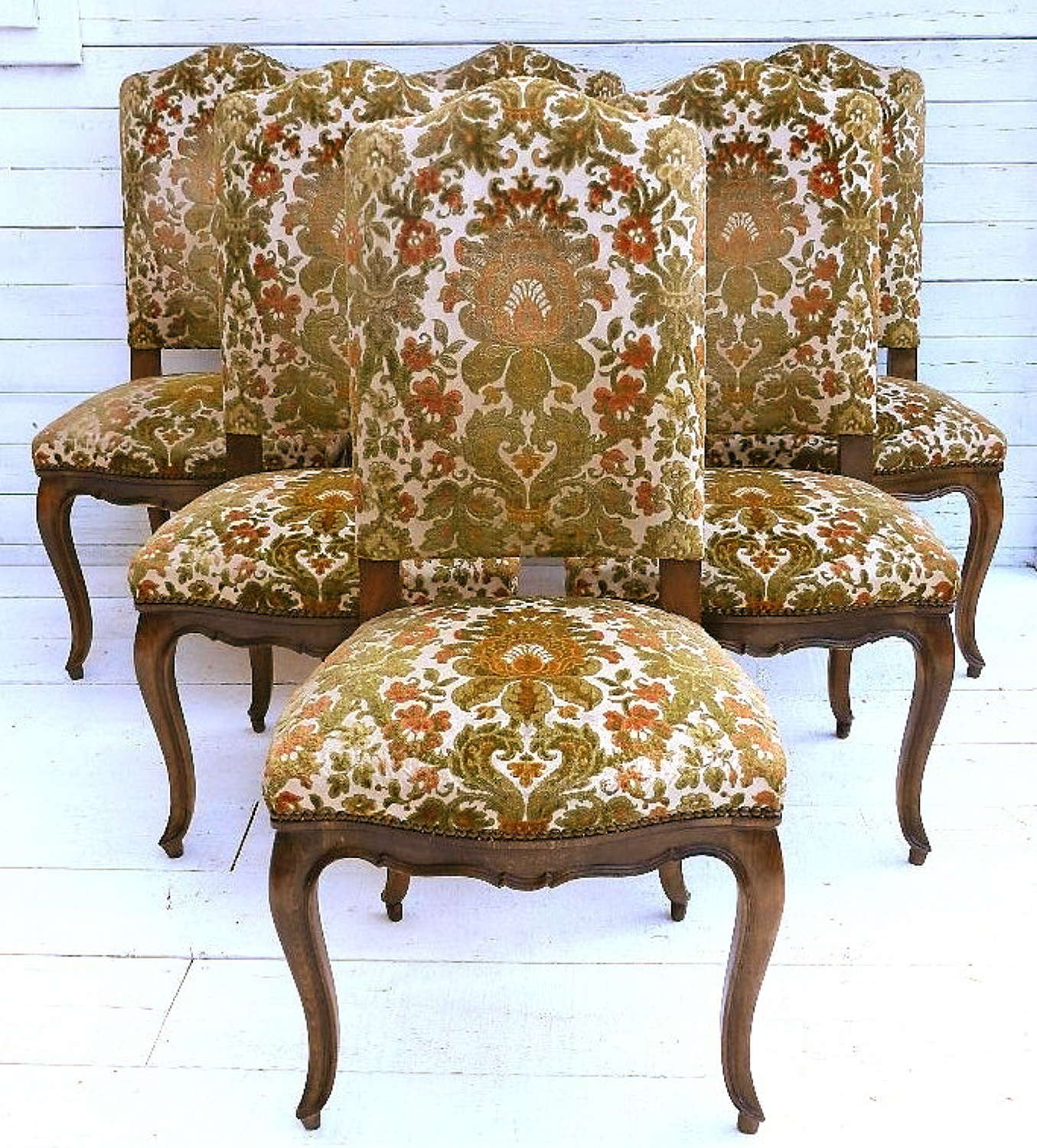 SET of 6 FRENCH VINTAGE LOUIS XV DINING CHAIRS to recover or SHABBY CHIC