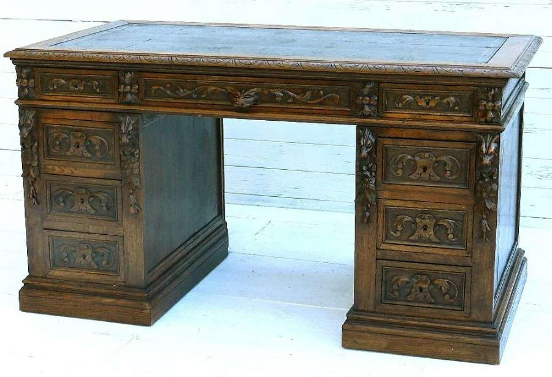 C19 French Carved Oak Pedestal Desk Green Man Lions Head