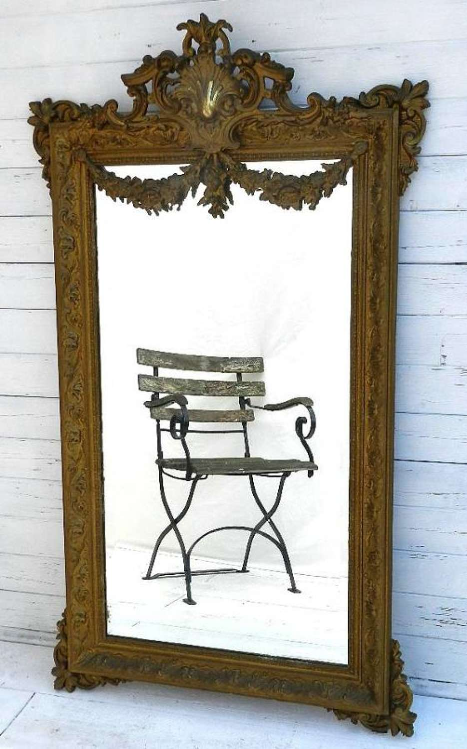 C19 French Louis XV Floral Swag Mirror