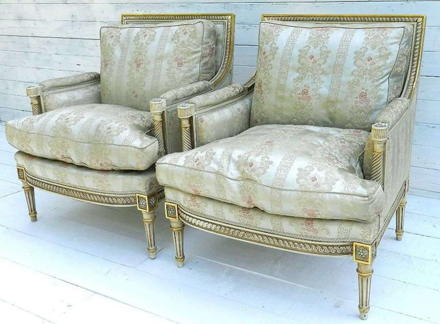 Pair French Louis XVI rev Fauteuil Armchairs