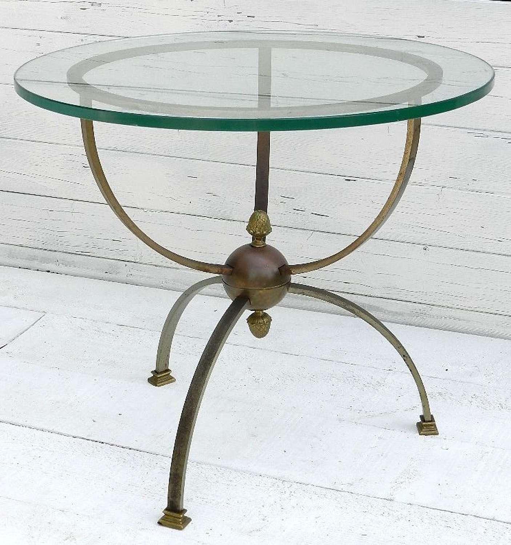 LOUIS XVI rev OCCASIONAL TABLE GLASS & BRONZE