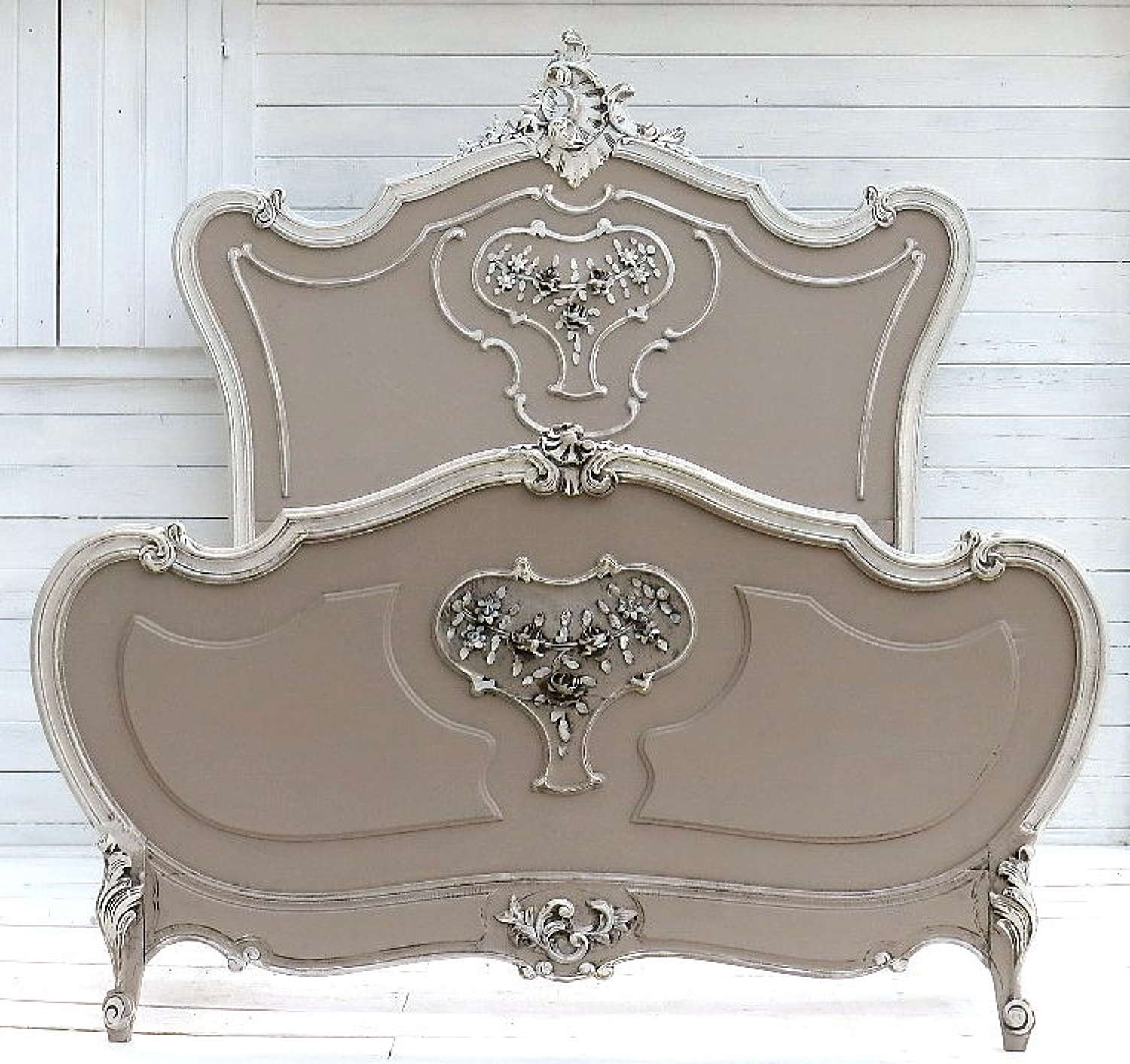 C19 FRENCH LOUIS XV revival BED LARGE SINGLE OR DOUBLE PAINTED SHABBY CHATEAU CHIC