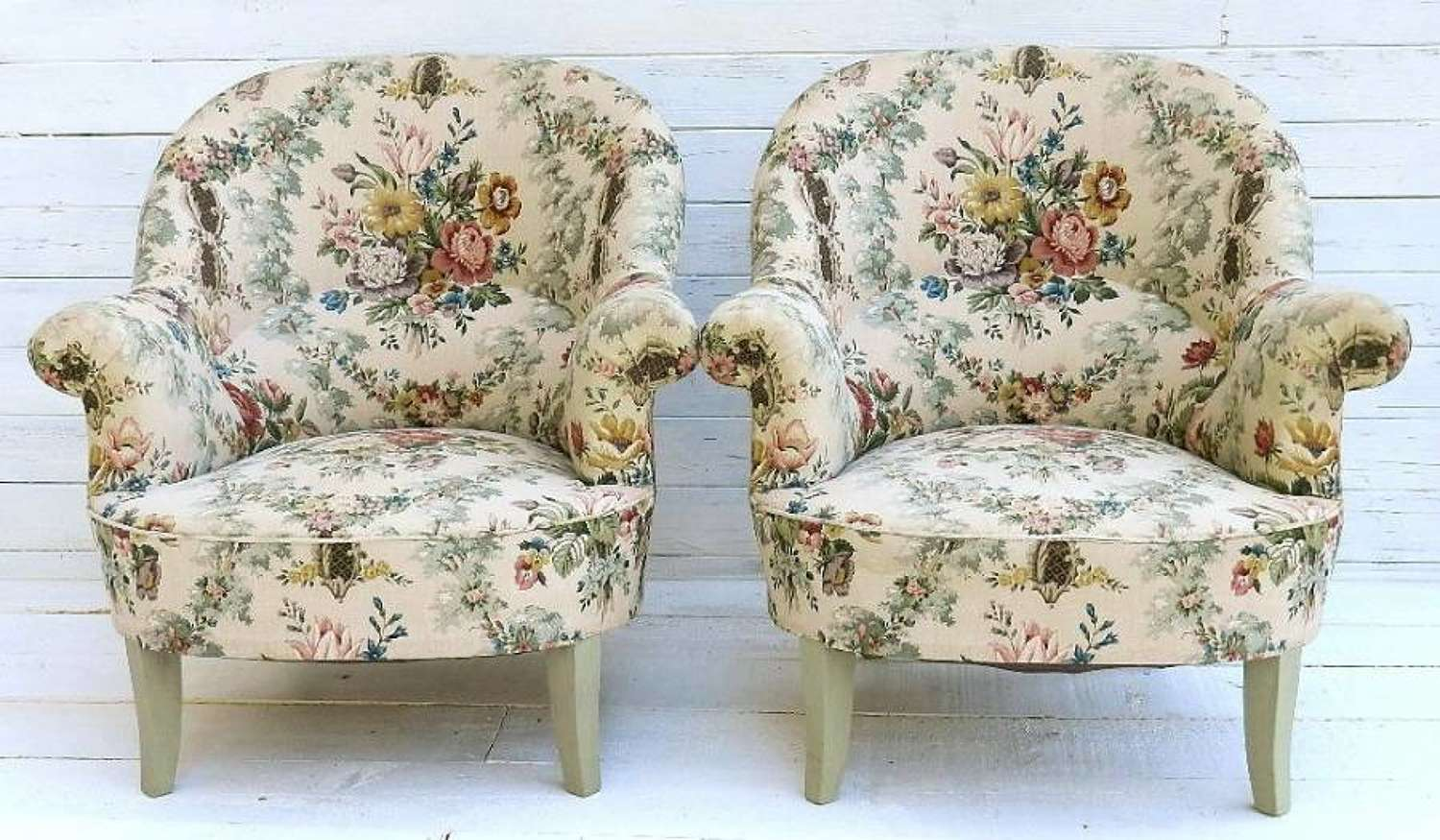 PAIR of FRENCH FAUTEUIL ARMCHAIRS COUNTRY COTTAGE CHINTZ