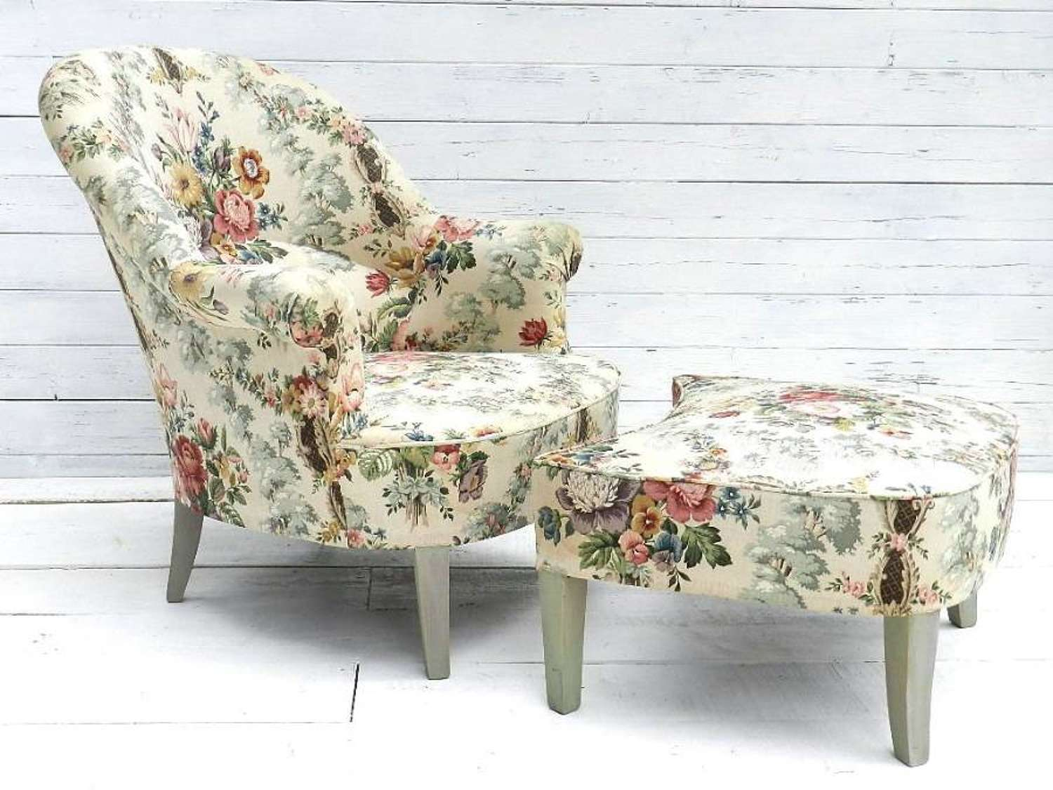 FRENCH VINTAGE DUCHESSE BRISEE FAUTEUIL ARMCHAIR & FOOT STOOL c1920-30