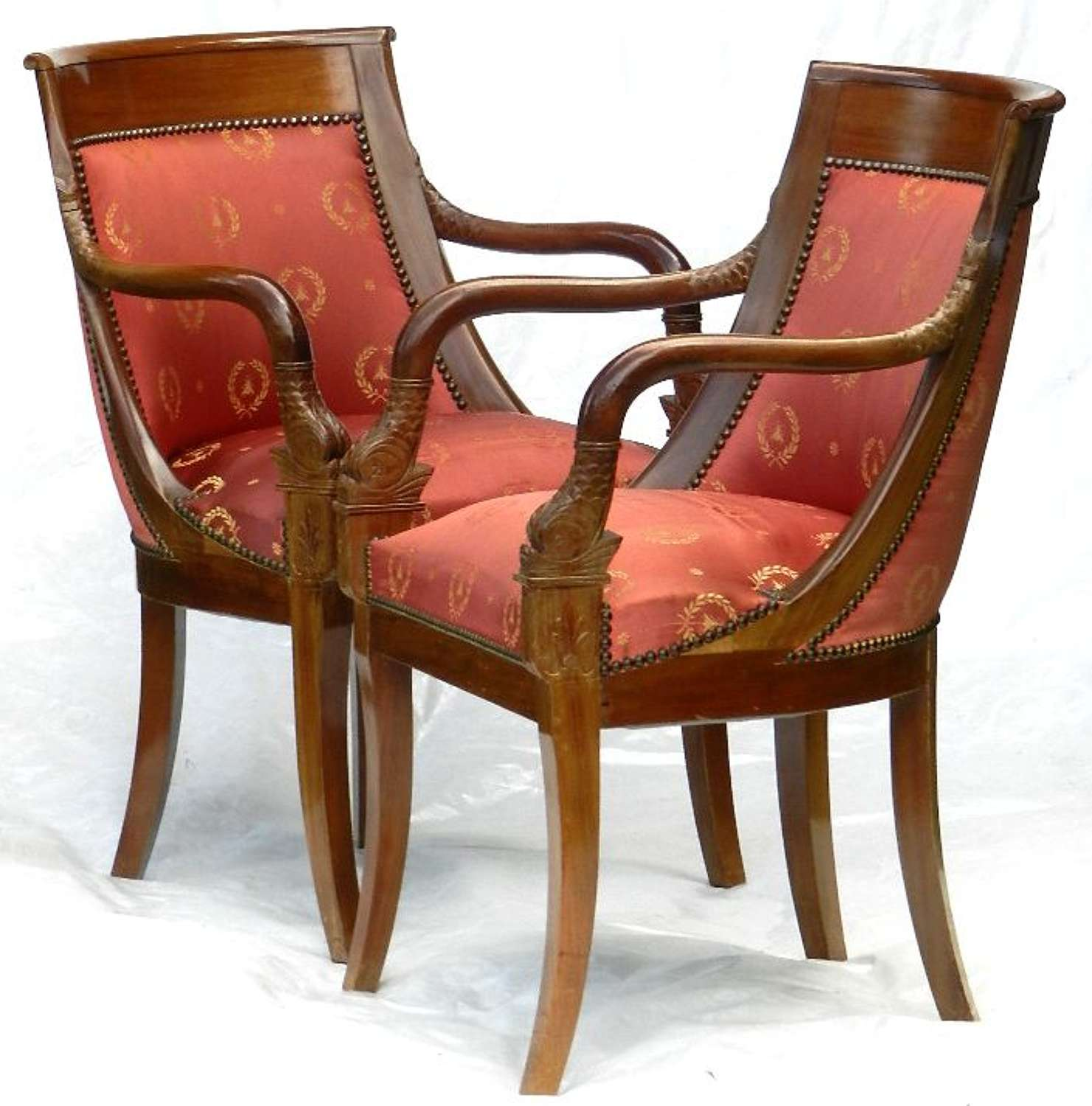 6 (4+2) French Empire revival Gondola Dining Chairs