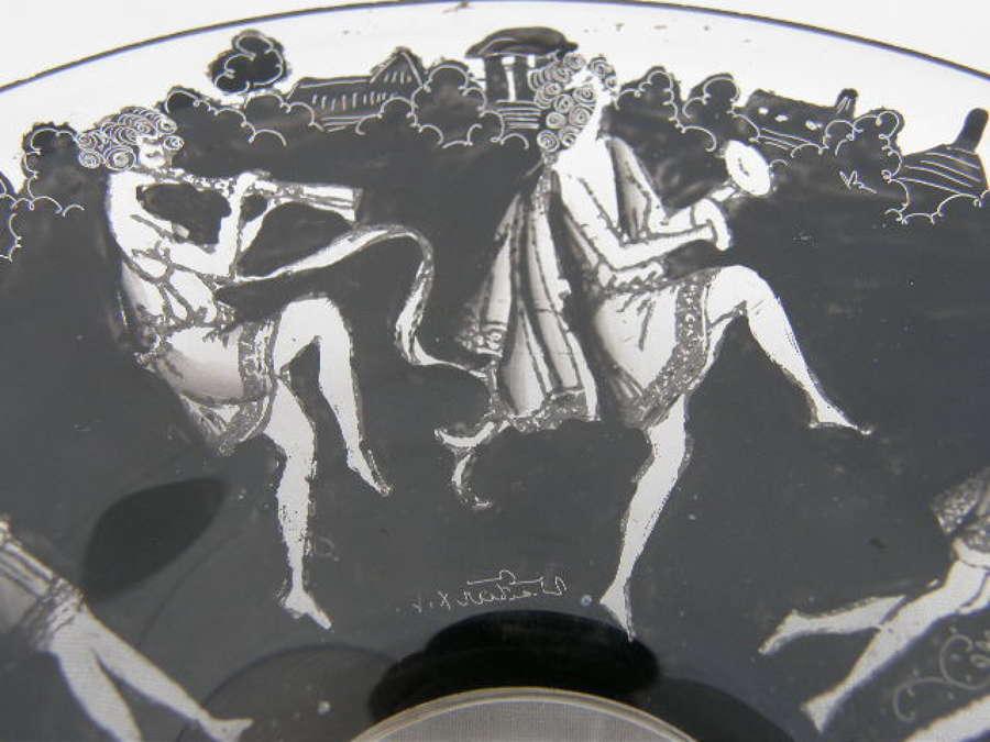 SIGNED ART GLASS DISH