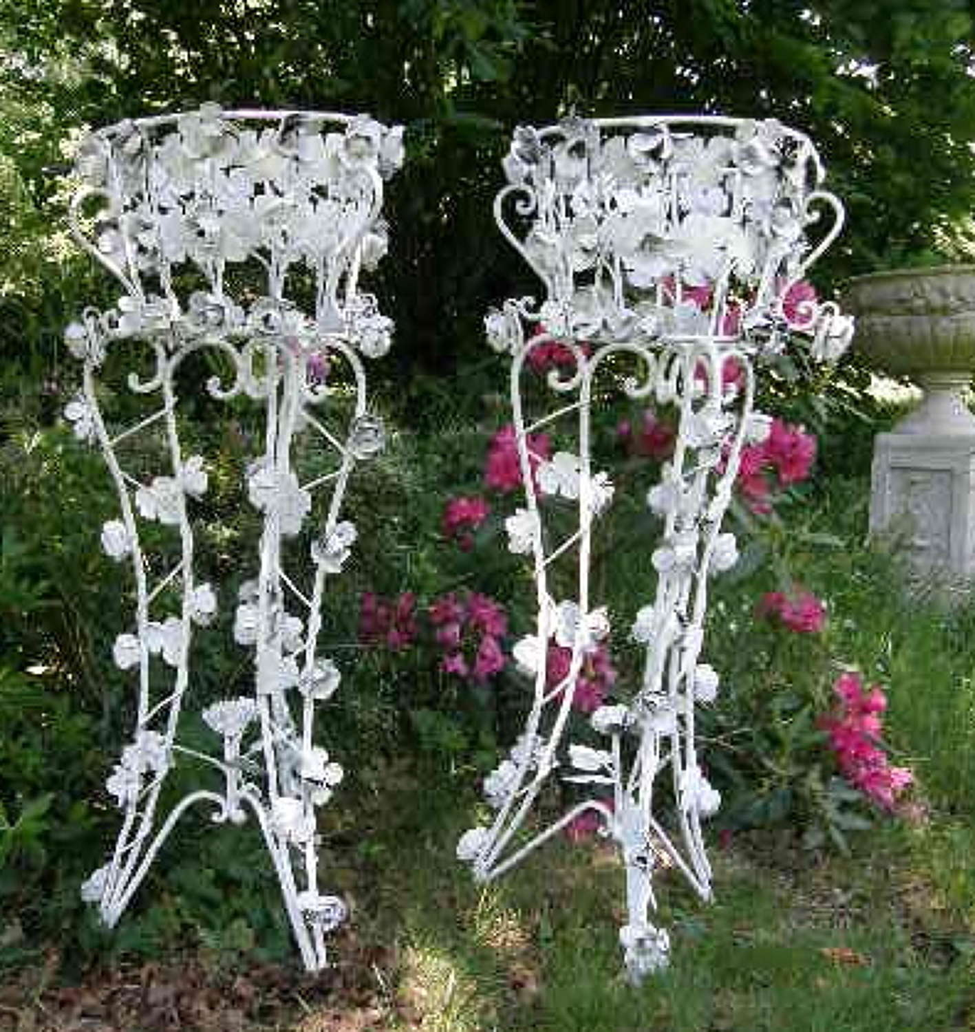 Pair of Wrought Iron Jardiniere Plant Stands