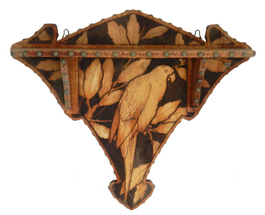 Wall Parrot Shelf Art Deco Wood Pokerwork Pyrogravure c1930
