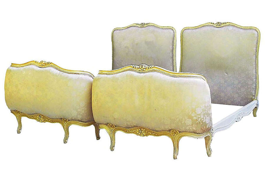 Pair of Twin Beds French Louis XVI Rev Upholstered to Recover