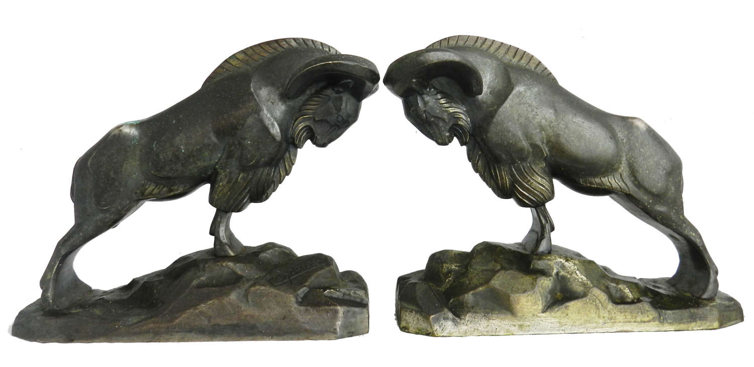 Art Deco Pair Bronze Mountain Rams Bookends by C Charles c1930