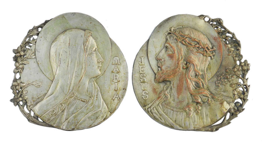 Pair Mary and Jesus Art Nouveau Plaques by R Lamourdedieu French Belle