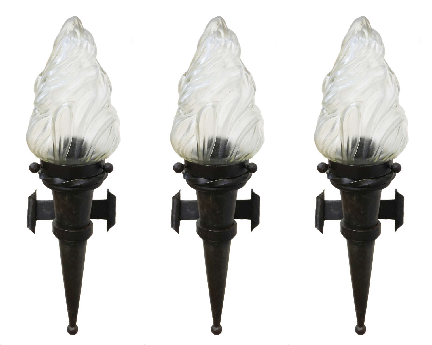 Three Flame Wall Lights Sconces Large Forged Iron Glass French c1930