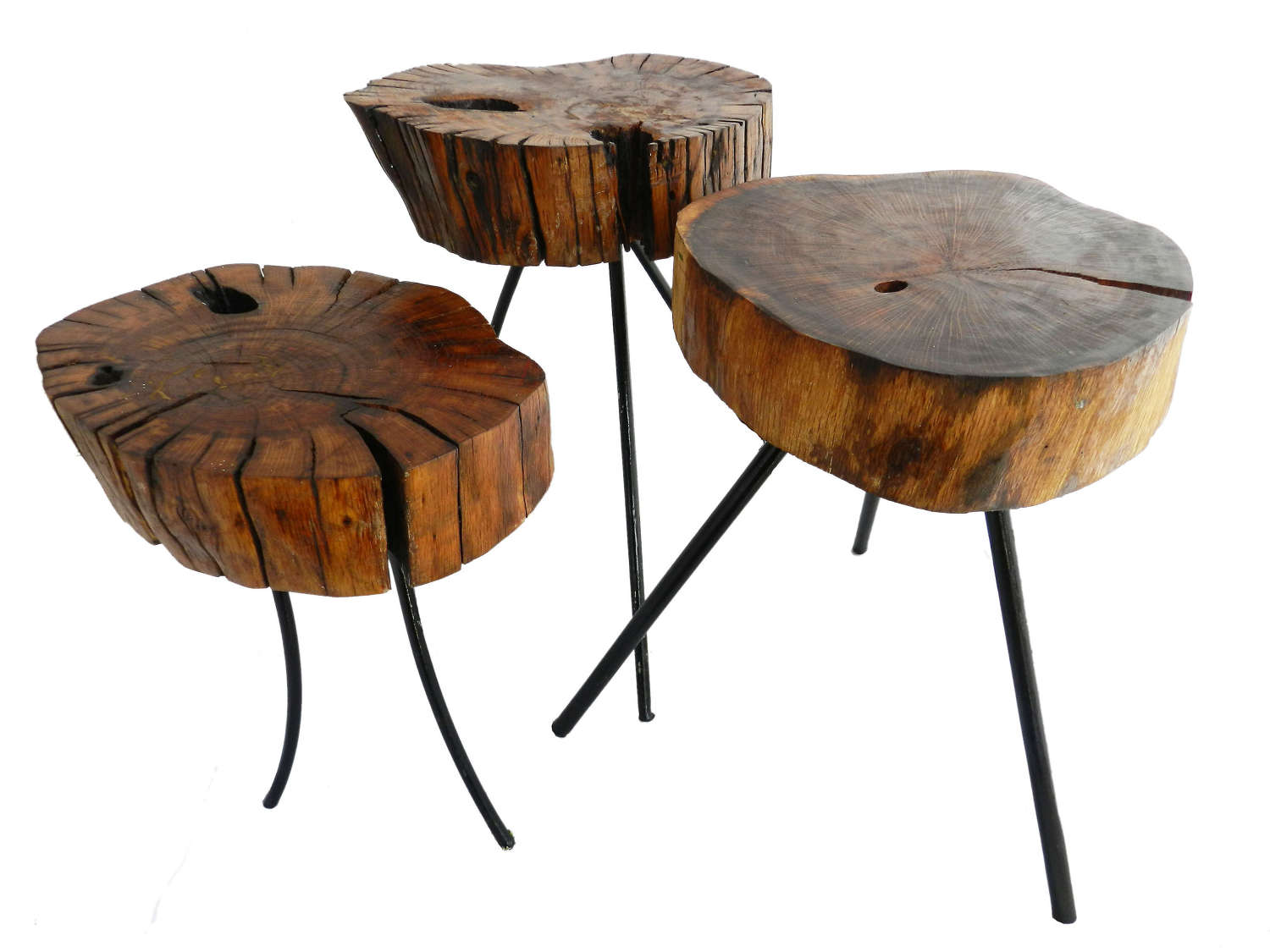 Midcentury Three Side Tables or Side Tables Live Edge French