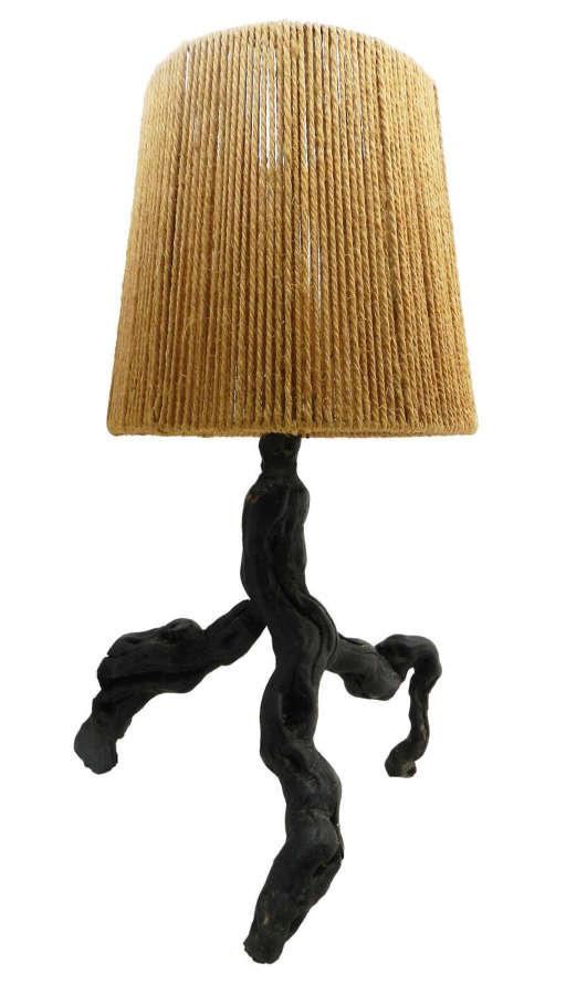 Mid Century Olive Table Lamp Light Vine Root Live Edge