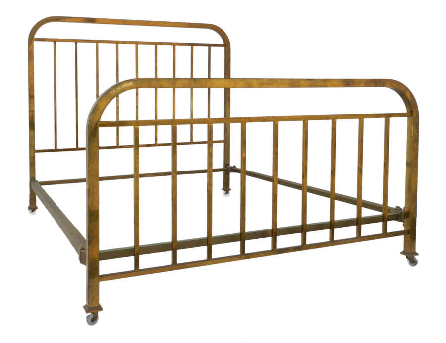 Art Deco Bed Brass UK King US Queen Size French c1930 Mid Century