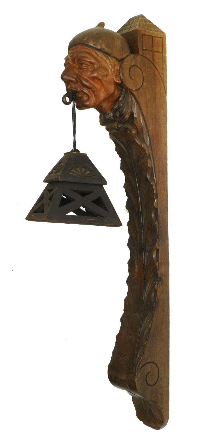 Wall Light Lantern Sconce French Basque Sculpted Wood Head, c1920