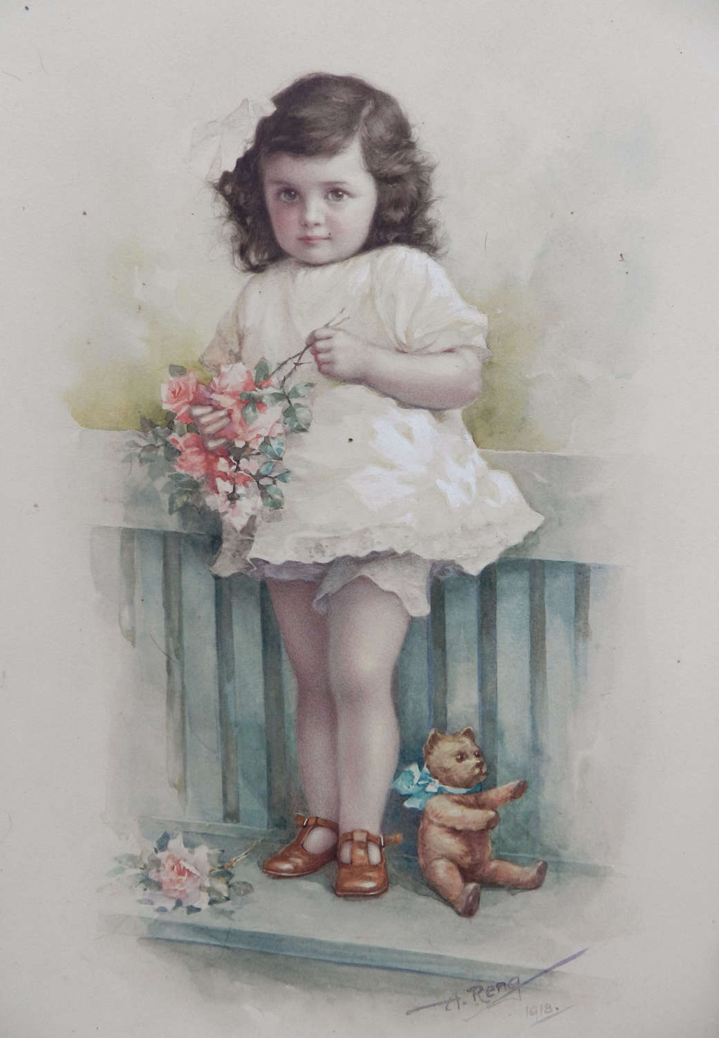 Watercolor By A Reng Young Child Plus Teddybear C1918