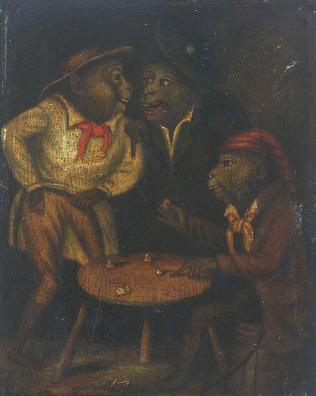 19th Century Oil Painting Three Monkeys Gambling