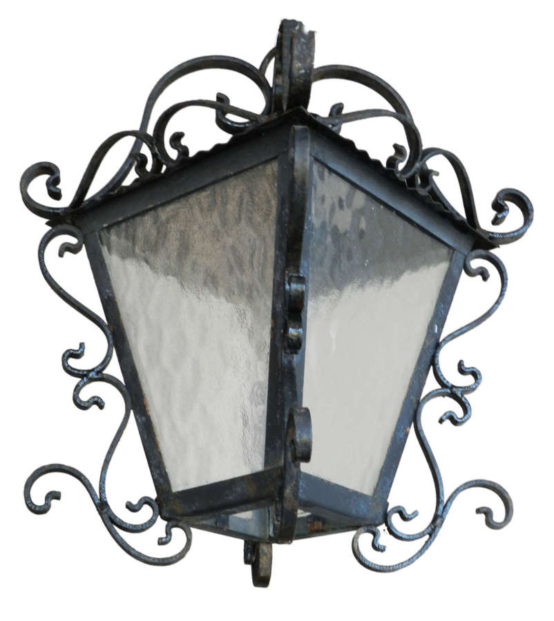 Outdoor Porch Light Wrought Iron Glass Vintage